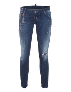 DSQUARED2 Skinny Cropped Short Crotch Tight Bottom Splash Blue