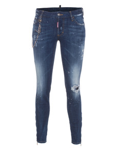 DSQUARED2 Medium Waist Super Slim Crotch Tight Bottom Splash Blue