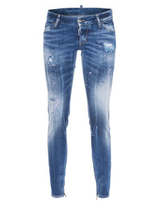 DSQUARED2 Skinny Jean Ankle Zip Marks Blue