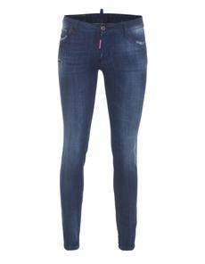 DSQUARED2 Medium Waist Skinny Crotch Tight Bottom Zip Blue