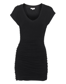 SPLENDID Shirred V-Neck Black