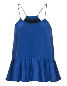 TIBI Strappy Ruffle Silk Baltic Blue
