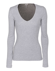 SPLENDID One And One Long V-Neck Heather Grey