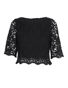 Nightcap Clothing Daisy Crochet Crop Black