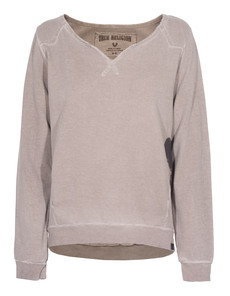 TRUE RELIGION Feather Sweat Crew Fossil Brown