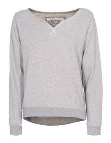 TRUE RELIGION Feather Sweat Crew Grey Marl