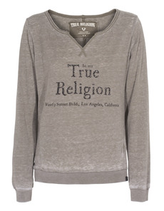 TRUE RELIGION Burn Out Sweat Dusty Olive