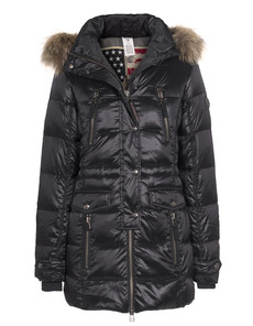 TRUE RELIGION Down Coat Raccoon Fur Black