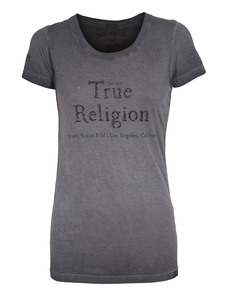 TRUE RELIGION Lettering Crew Neck Washed Black