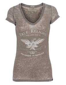 TRUE RELIGION Burnout Eagle V-Neck Dusty Olive