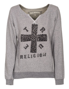 TRUE RELIGION Cross Boxy Heather Grey