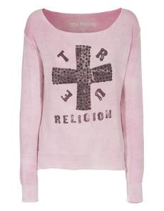 TRUE RELIGION Cross Knit Raspberry Rose