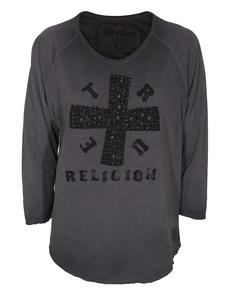 TRUE RELIGION Baseball Cross Jet Black