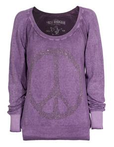 TRUE RELIGION Peace Raglan Purple