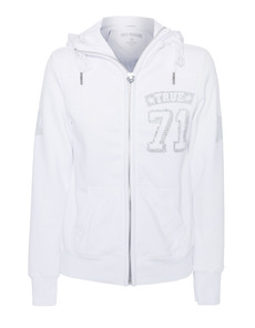 TRUE RELIGION True 71 Hooded Zip White