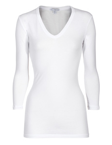 JAMES PERSE Long V-Neck White