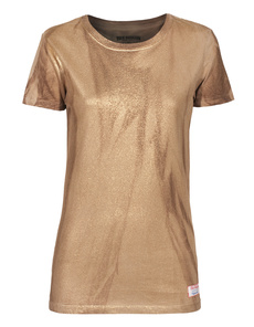 TRUE RELIGION Crew Neck Metallic Gold