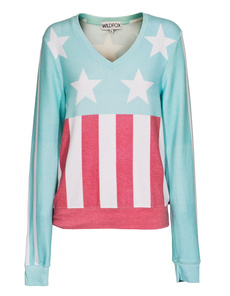 WILDFOX Stars and Stripes V-neck Spring Water
