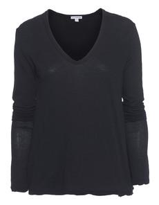 JAMES PERSE Crepe Jersey Soft V-Neck Black