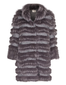 YVES SALOMON Fur Cable Knit Grey