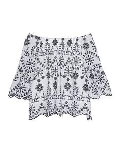 JADICTED Off-Shoulder Hole Pattern Black White