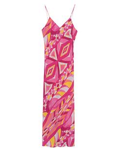 JADICTED Silk Dress Strap Pink Multicolor