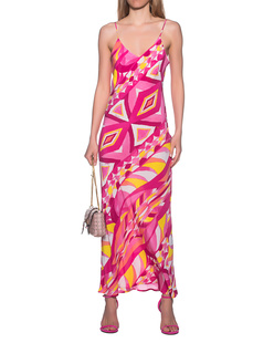 JADICTED Silk Dress Strap Pink Multicolor