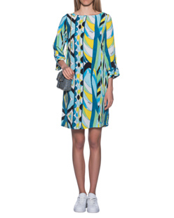 JADICTED Silk Dress Blue Multicolor