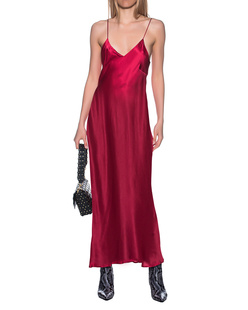 JADICTED Dress Strap Silk Red