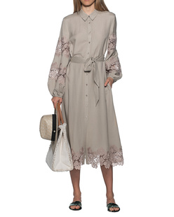 JADICTED Linen Dress Camel Beige