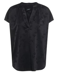JADICTED Silk Pattern V-Neck Black