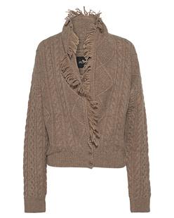 JADICTED Short Cable Knit Fringe Camel
