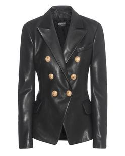 BALMAIN Golden Button Leather Black