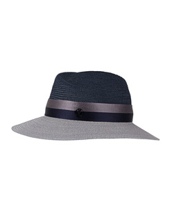 Maison Michel Two Tone Straw Navy