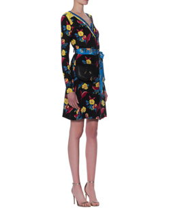 DVF Diane von Furstenberg Wrap Dress Black Floral