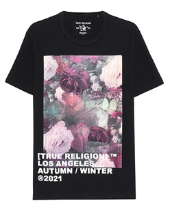 TRUE RELIGION Crew Neck Art Flower Black