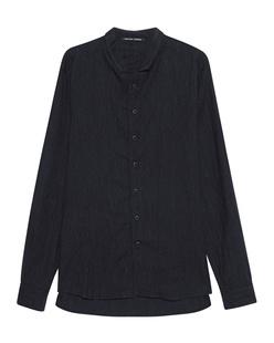 HANNES ROETHER Pinstripe Shirt Dark Blue
