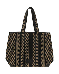LALA BERLIN Tote Adrianne Kufiya Stitch Black Brown