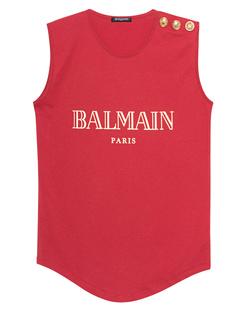 BALMAIN Sleeveless Label Red