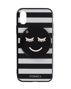IPHORIA iPhone X Striped Smiley Black