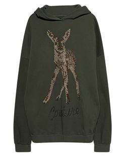 CAMOUFLAGE COUTURE STORK Oversize Bambi Rhinestones Olive