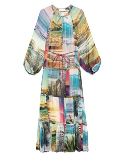 ZIMMERMANN Shelly Tiered Tie Midi Patched Posters Multicolor