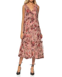 ZIMMERMANN Cassia Frill Midi Dress Musk Floral