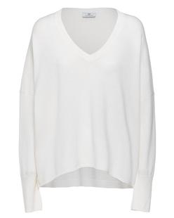 AG Jeans Deep V Neck Oversize Off White