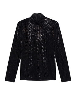 STEFFEN SCHRAUT Long Sequin Stand Up Collar Black