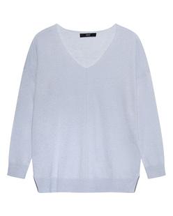 STEFFEN SCHRAUT V Neck Fine Knitted Pearls Light Blue