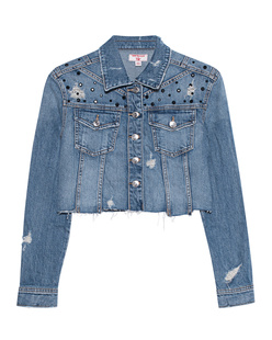 TRUE RELIGION Cropped Boxy Destroy Blue