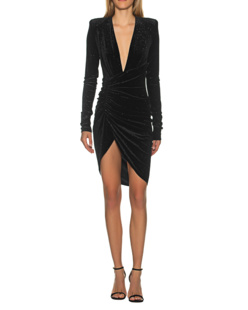 ALEXANDRE VAUTHIER Mini Ruffle V Neck Black