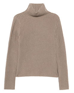 (THE MERCER) N.Y. Stand Up Collar Ribbed Cashmere Taupe Melange