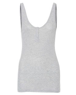 T BY ALEXANDER WANG Rib Henley Placket Short Heather Grey